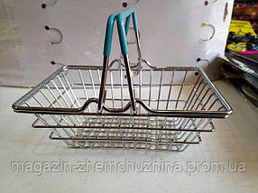 SALE! 3штуки Декоративная мини корзинка из супермаркета  ГОЛУБЫЕ ручки, фото 3