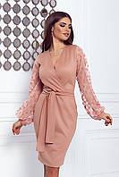 Платье с запахом и объёмными рукавами из сетки (42)