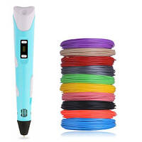 3D ручка для объемного рисования с экраном универсальная Pen 2 и 50 метров разноцветного пластика Голубой