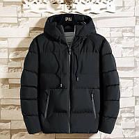Мужская зимняя куртка спортивный пуховик с капюшоном для подростка парня, цвет черный, размер