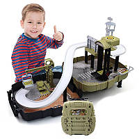 Детский автотрек парковка-трансформер Diy Military Base Военная База в рюкзаке Зеленый