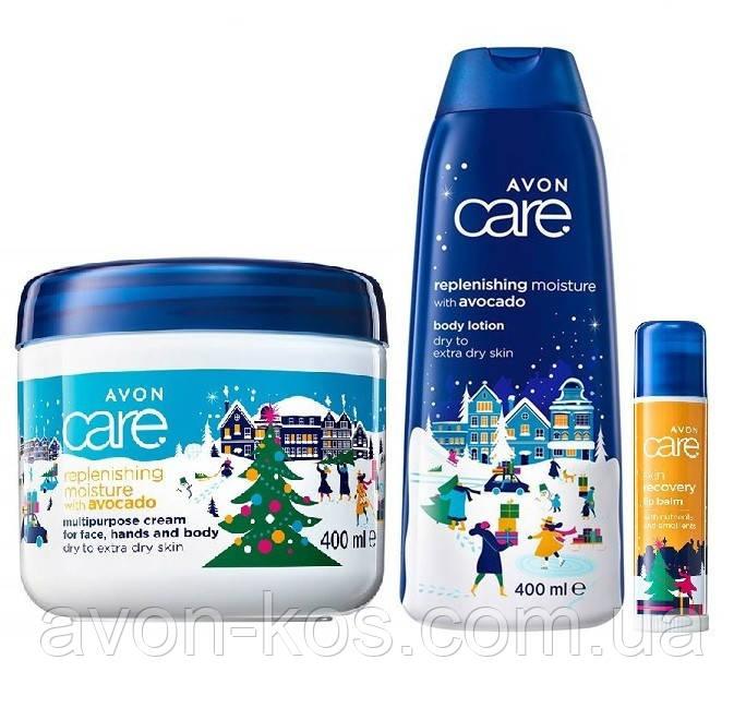 Подарунковий новорічний Набір з маслом авокадо 3 в 1 AVON Care Naturals (крем+лосьйон+бальзам для губ)