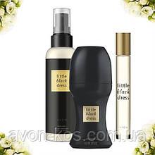 Парфумерний набір Avon Little Black Dress з 3 х одиниць зі спреєм - Ейвон Чорне плаття