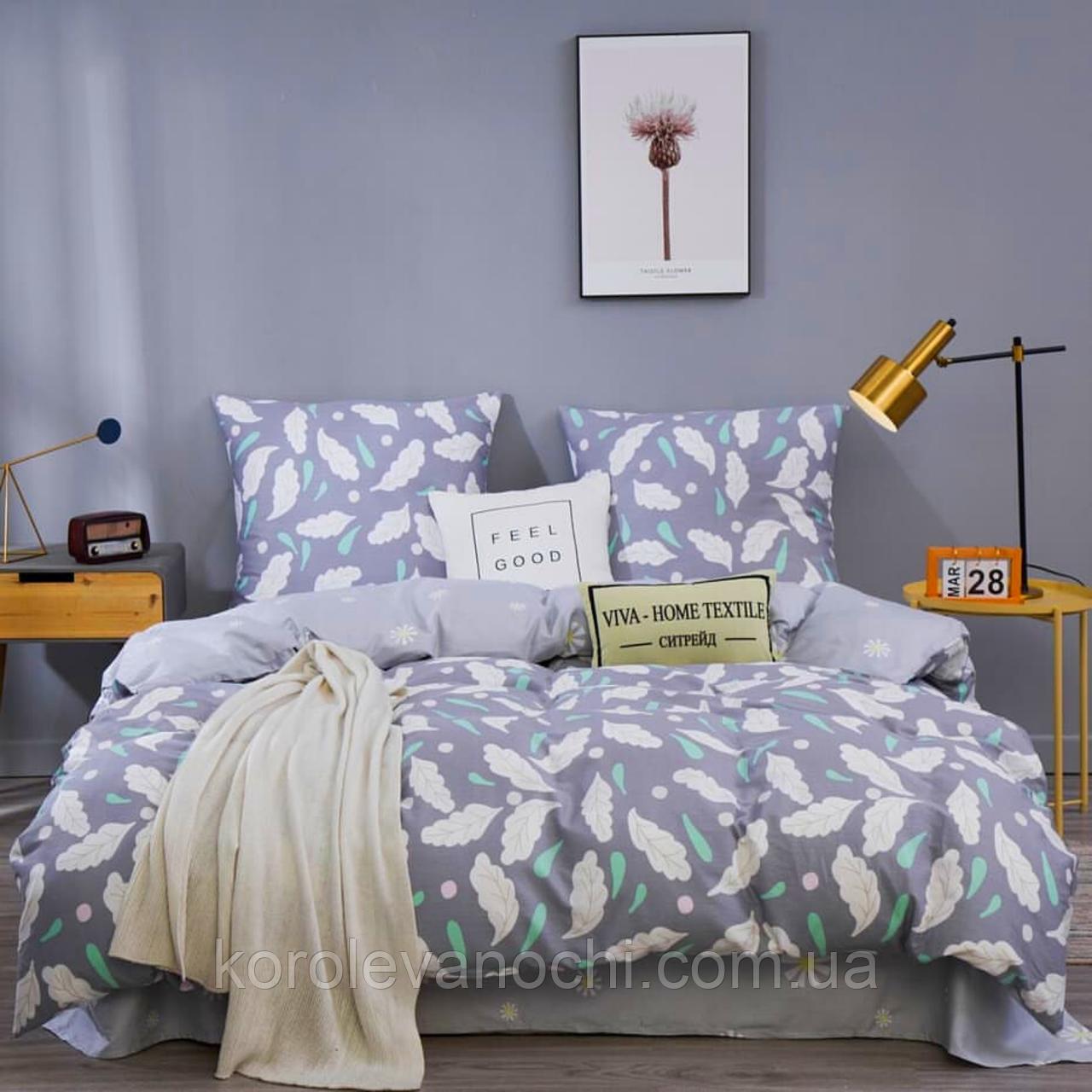 """Полуторный комплект (Бязь)   Постельное белье от производителя """"Королева Ночи""""   Листья и цветы на фиолетовом"""