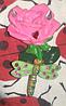 Магнит сувенир розовая роза керамика и стрекоза на пружинке, фото 2