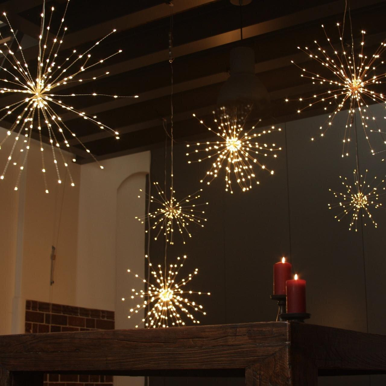 "Гирлянда Бахрома ""Фейерверк"" LedGO, 3 метра, 110 LED, 5 пучков, теплый белый"