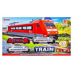 Железная дорога с световыми и звуковыми эффектами на 28 деталей.Детский поезд JHX8812