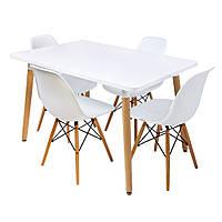 Столик Bonro В-950-1200 + 4 білих крісла В-173
