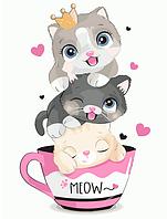 """Картина по номерам """"Котята в чашке"""" для детей в коробке, 30*40 см"""