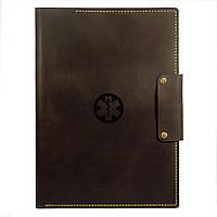 Кожаная папка для докуменов Anchor Stuff Подарок медику А4 Коричневая