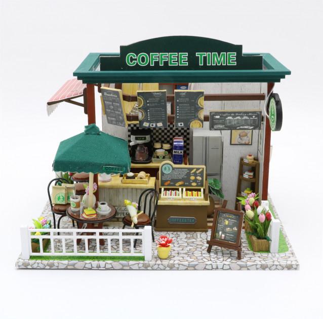 """3D Румбокс Кафе """"Coffee Time"""" Кукольный Домик DIY DollHouse + защитный купол"""