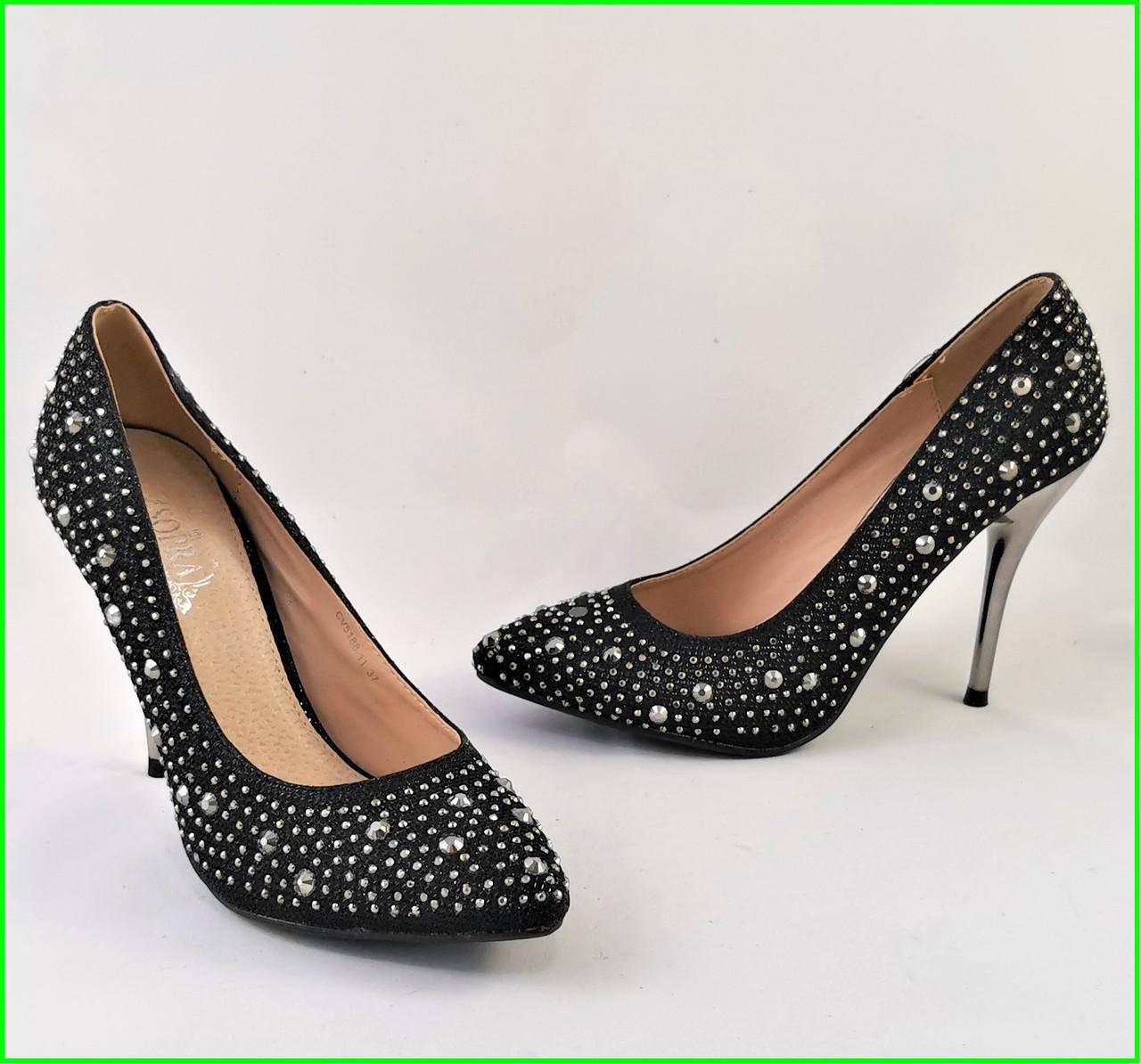 Женские Черные Туфли на Каблуке Модельные Шпилька (размеры: 37,38,39,40) - 11