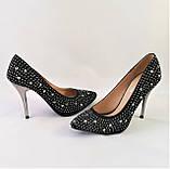 Женские Черные Туфли на Каблуке Модельные Шпилька (размеры: 37,38,39,40) - 11, фото 8