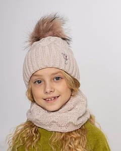 Вязаний комплект з помпоном для дівчинки оптом - Артикул 2734