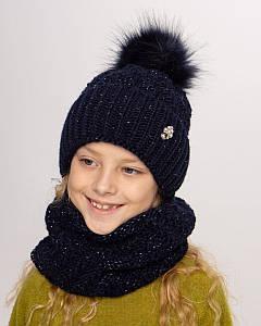 Вязаний комплект з помпоном для дівчинки оптом - Артикул 2743