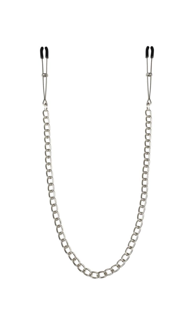 Тонкі затискачі для сосків з ланцюжком Feral Feelings - Chain Heavy nipple clamps, срібло/чорний