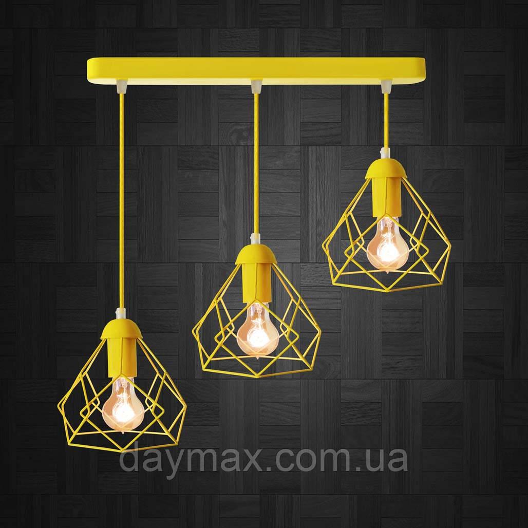 Подвесная люстра на 3-лампы RUBY-3 E27  желтый