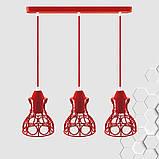 Подвесная люстра на 3-лампы RINGS-3 E27 красный, фото 2