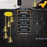 Подвесная люстра на 5-ламп RUBY-5G E27 на круглой основе, желтый, фото 3