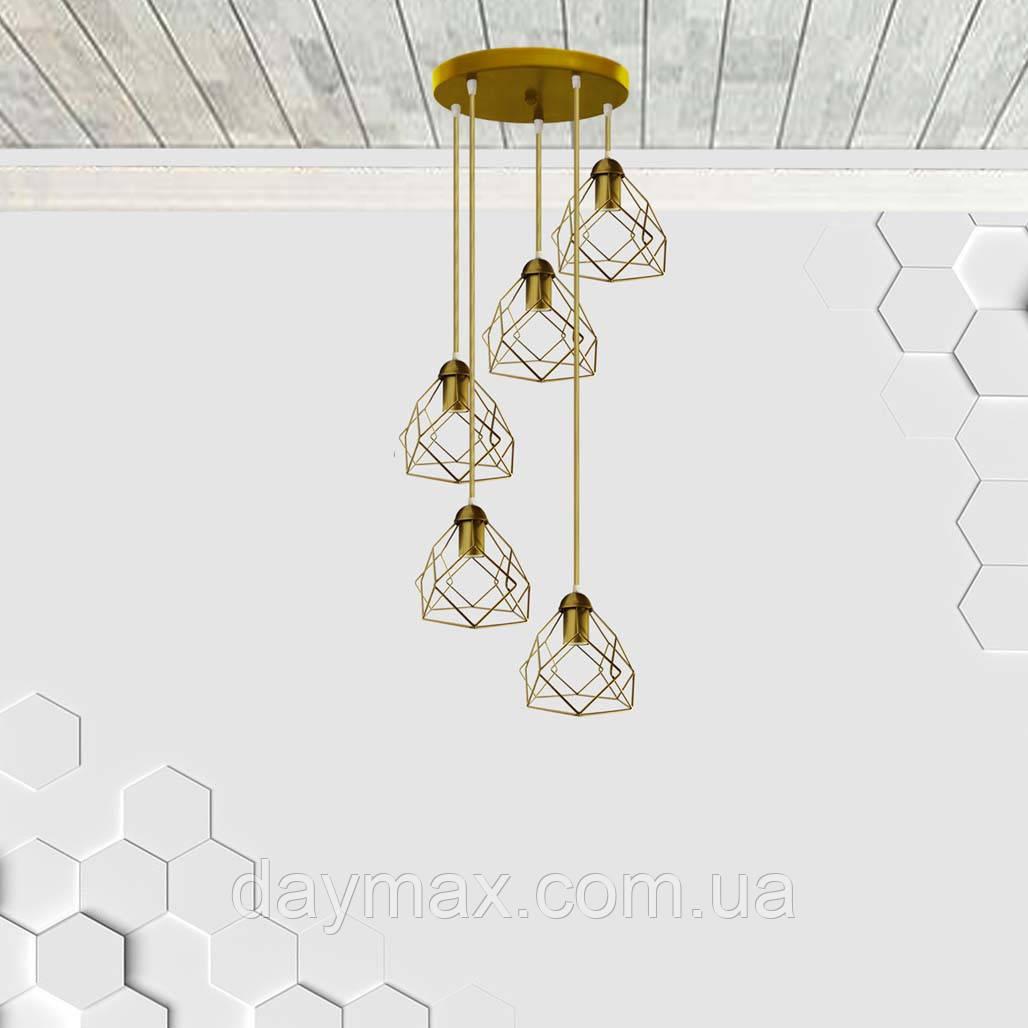 Подвесная люстра на 5-ламп RUBY-5G E27 на круглой основе, золото