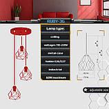 Подвесная люстра на 3-лампы RUBY-3G E27 на круглой основе, красный, фото 2