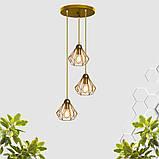 Подвесная люстра на 3-лампы SKRAB-3G E27 на круглой основе, золото, фото 2