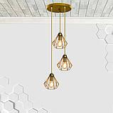 Подвесная люстра на 3-лампы SKRAB-3G E27 на круглой основе, золото, фото 10