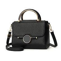 Маленькая сумка через плечо из кожзама, сумочка с круглыми ручками черная классическая, AL-4553-10