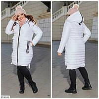 Женская теплая куртка длинная батал, фото 1
