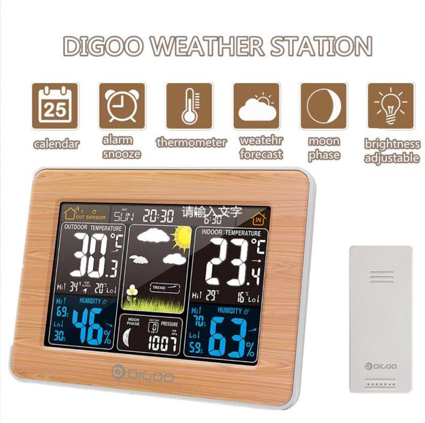 DIGOO DG-EX002 Метеостанция с часами, будильником и выносным датчиком температуры и влажности