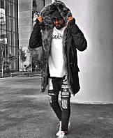 """Парка коттоновая мужская зимняя """"Open"""" с глубоким капюшоном и мехом черная - L, XL"""