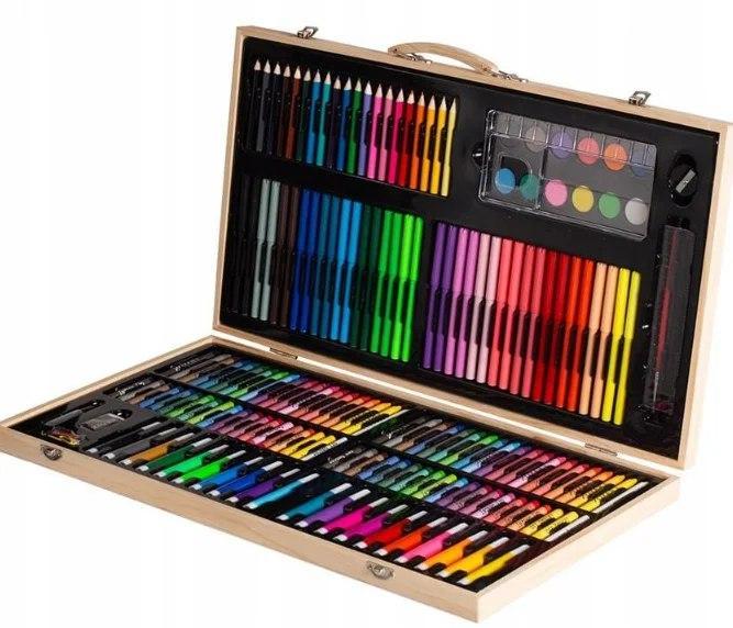 Набір для малювання 123 предмета в дерев'яному валізі дитячий Mega Art Set