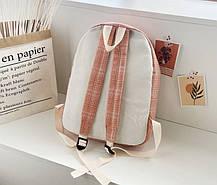 Великий тканинний рюкзак в клітку для школи, фото 3