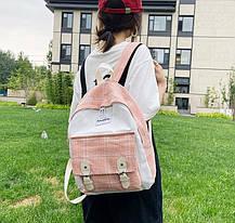 Великий тканинний рюкзак в клітку для школи, фото 2