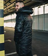 Куртка мужская зимняя | длинная парка (до -30) черная Турция. Живое фото. Чоловіча куртка (Куртка пальто)