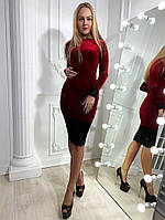 Женское элегантное бархатное платье с кружевом, фото 1