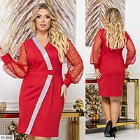 Женское Трикотажное Платье Батал Красное, Электрик, фото 1