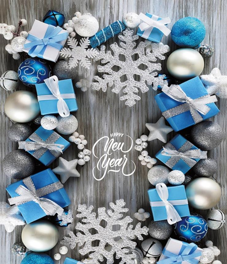 Новогодний пакет Подарки БОЛЬШОЙ ВЕРТИКАЛЬНЫІЙ 36*22*10 см Синий