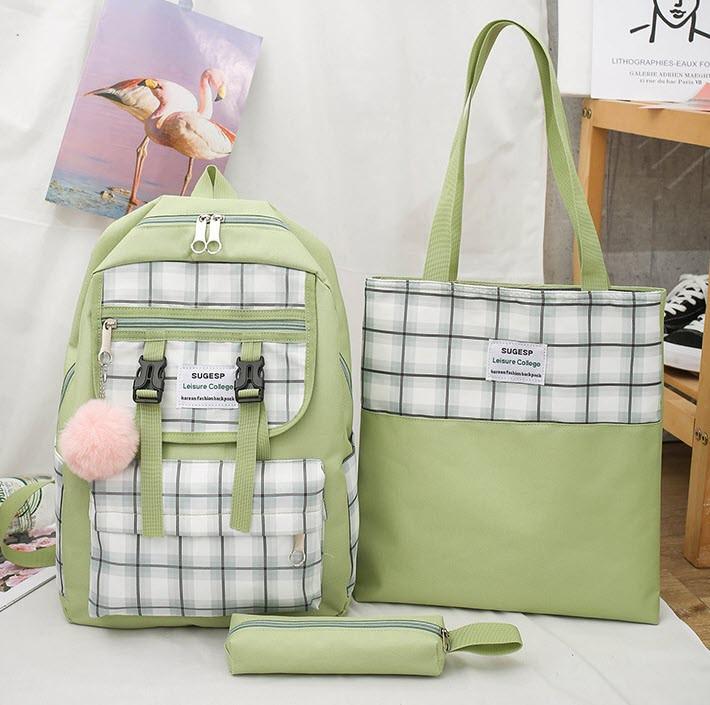Большой тканевый набор с помпоном  3в1 Рюкзак, сумка, пенал