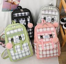 Большой тканевый набор с помпоном  3в1 Рюкзак, сумка, пенал, фото 2