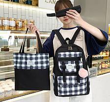 Большой тканевый набор с помпоном  3в1 Рюкзак, сумка, пенал, фото 3