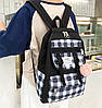 Большой тканевый набор с помпоном  3в1 Рюкзак, сумка, пенал, фото 5