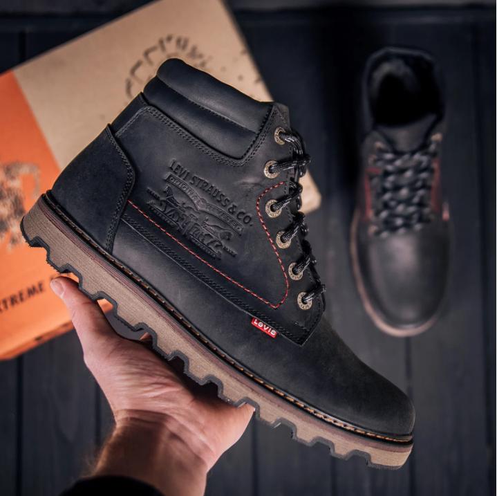 Мужские зимние кожаные ботинки в стиле Levis Expensive Black