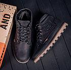 Мужские зимние кожаные ботинки в стиле Levis Expensive Black, фото 3