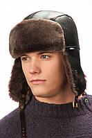 Мужская шапка-ушанка коричневая, фото 1