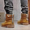 Зимние мужские высокие ботинки на меху из нубука на шнуровке песочного цвета, фото 6