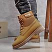 Зимние мужские высокие ботинки на меху из нубука на шнуровке песочного цвета, фото 2