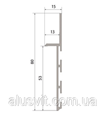 Плинтус  алюминиевый скрытого монтажа 80 мм с вставкой МДФ 50мм, фото 2