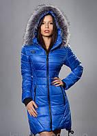 Женский зимний пуховик с мехом, цвет ярко синий