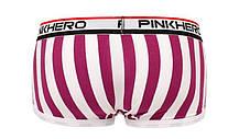 Мужские белые боксеры в фиолетовую полоску Pink Hero, мини-шорты, фото 3